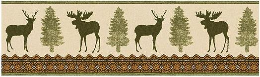 Moose Cabin Bathroom Wallpaper Wall Border