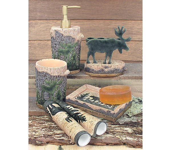 Moose cabin lodge bathroom accessories rugs mats free for Hunting bathroom accessories