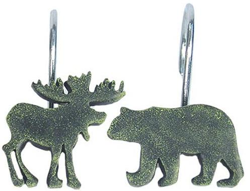 Moose Lodge  bathroom Shower Curtain Hooks