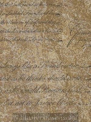 5812297 Script Burnished Gold Paper Illusion Faux Finish Wallpaper