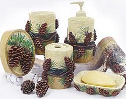 pine cone lodge bathroom accessories luxury bathroom set