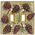 Pinecone Lodge Kitchen Decor Double Switchplate Cover 