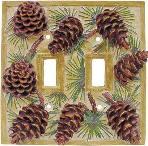Pine Cone Lodge  bathroom Bathroom Double Switchplate Cover