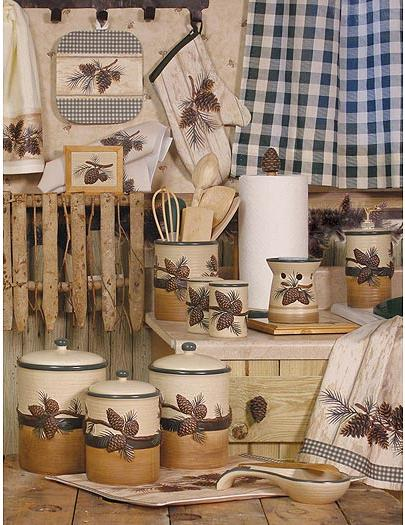 pine cone lodge kitchen accessories room shot