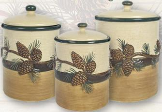 Pinecone Lodge  Kitchen Decor Canister 3 piece Set