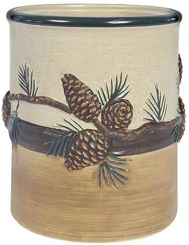 Pine Cone Lodge  bathroom Kitchen Utensil Holder