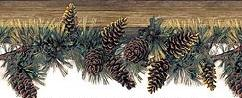 pine cone lodge wallpaper border