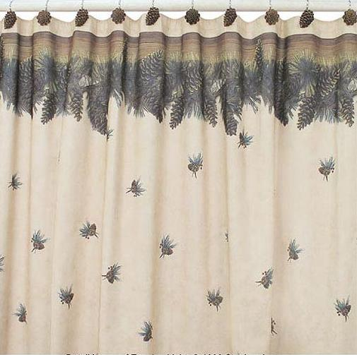 PINE CONE CABIN LODGE BATHROOM ACCESSORIES DESIGNER SHOWER CURTAIN ...