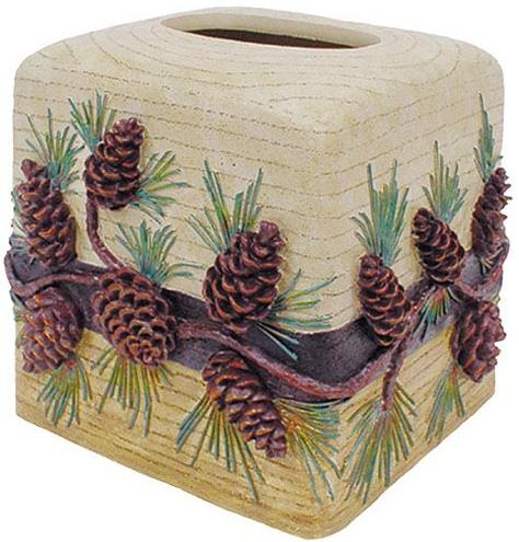 Pine Cone Lodge  bathroom Tissue Box Holder