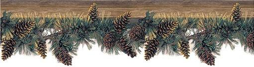 Pine Cone Lodge Bathroom Wallpaper Wall Border