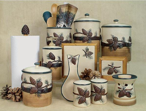 Pinecone pine cone cabin lodge kitchen accessories set for Bathroom countertop accessories sets