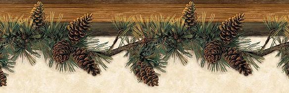 Pine Lodges bathroom wallpaper borders