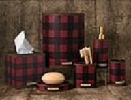 Red Plaid bathroom vanity accessories