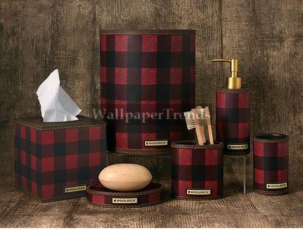 Red Plaid Bathroom Accessories Room Shot