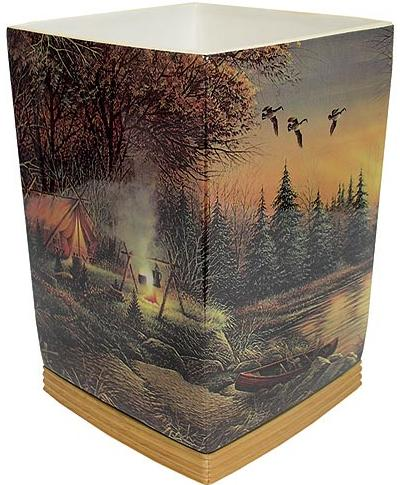 Terry Redlin bathroom designer trash can