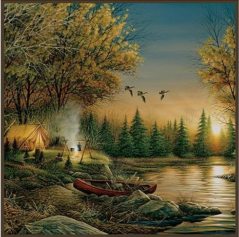 Terry Redlin  bathroom Shower Curtain